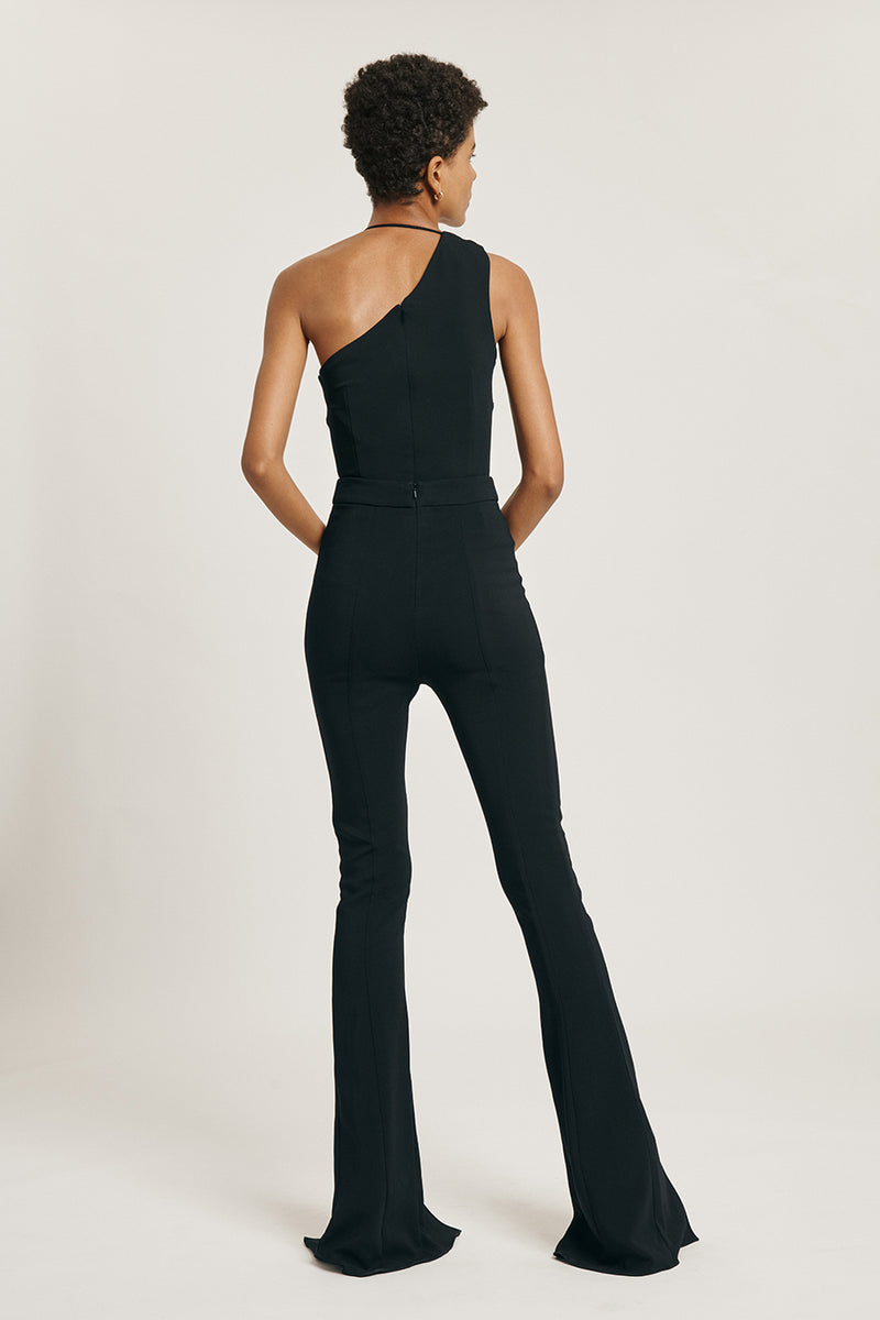 CUSHNIE Navy Liquid Cady High Waisted Flare Pant with Slits