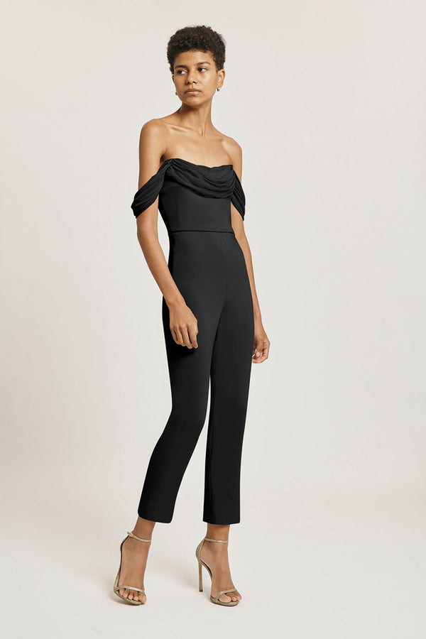 Black Liquid Cady Cropped Fitted Jumpsuit · Final Sale