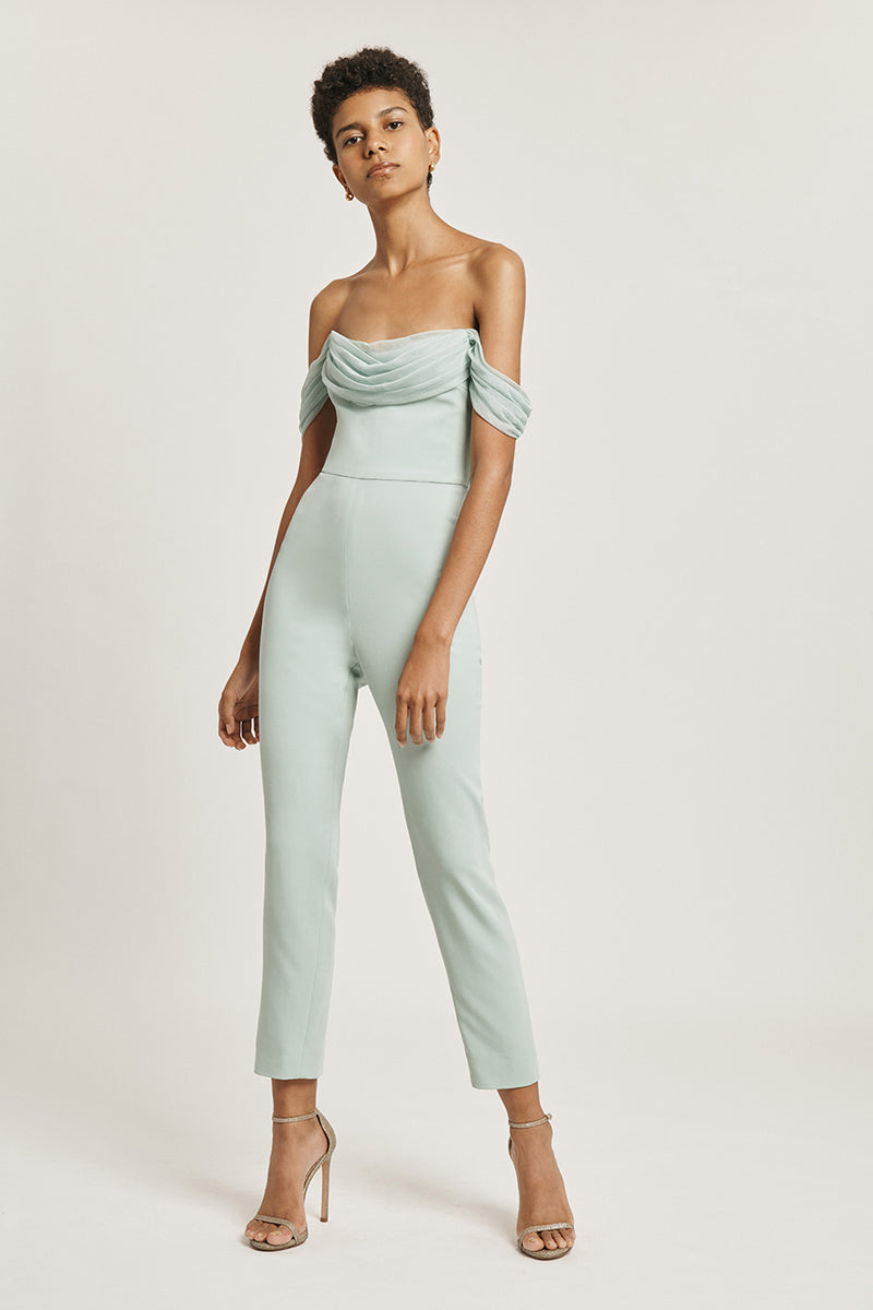 CUSHNIE Sea Green Liquid Cady Cropped Fitted Jumpsuit