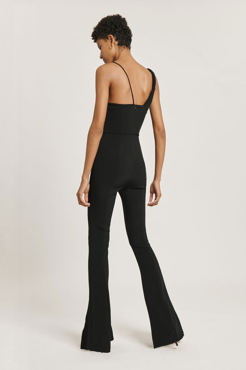 CUSHNIE Black Stretch Cady Plunging Flare Leg Jumpsuit