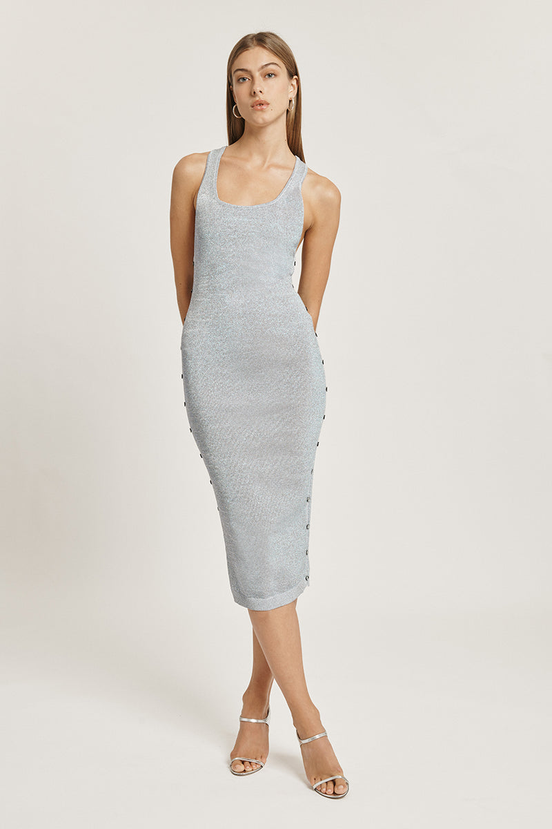 Seafoam Iridescent Scoop Neck Knit Dress
