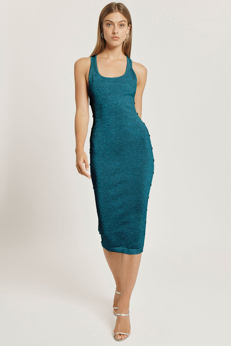 Navy Iridescent Scoop Neck Knit Dress