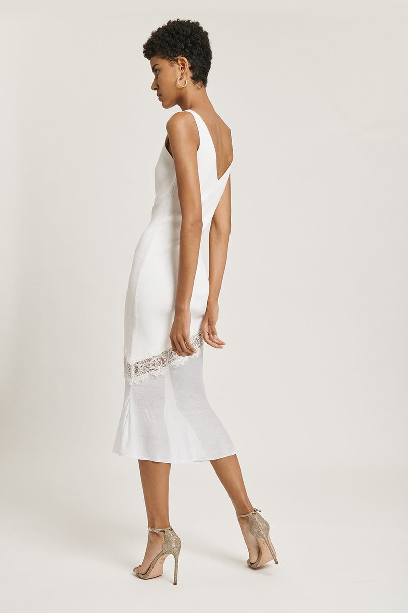 CUSHNIE White V Neck Knit Dress with Lace Detail