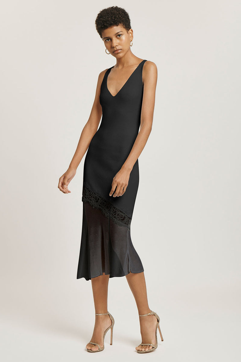 CUSHNIE Black V Neck Knit Dress with Lace Detail