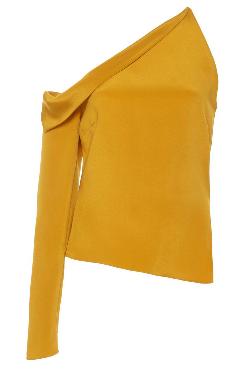 CUSHNIE Antique Gold Cold Shoulder Single Sleeved Top