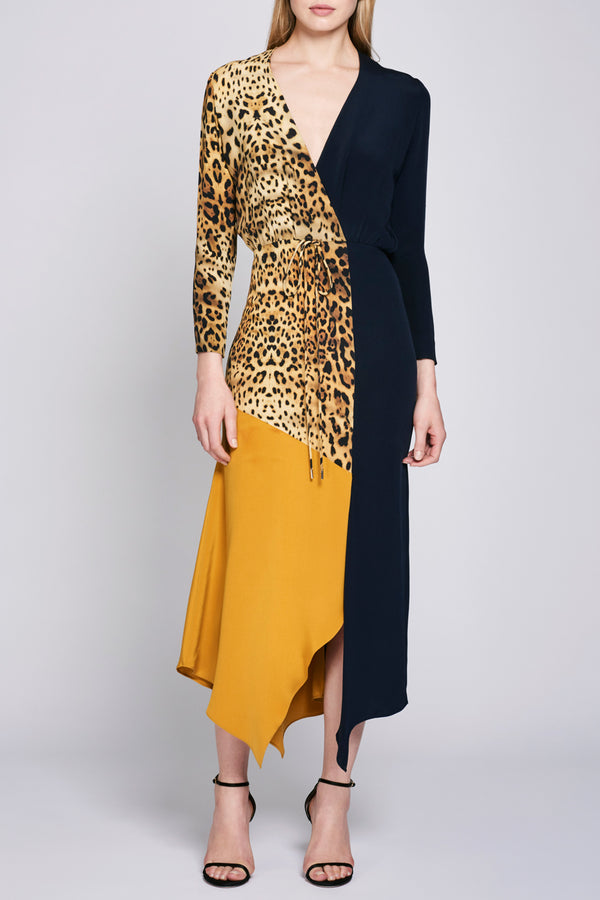Leopard Long Sleeve Color Block Silk Dress · Final Sale