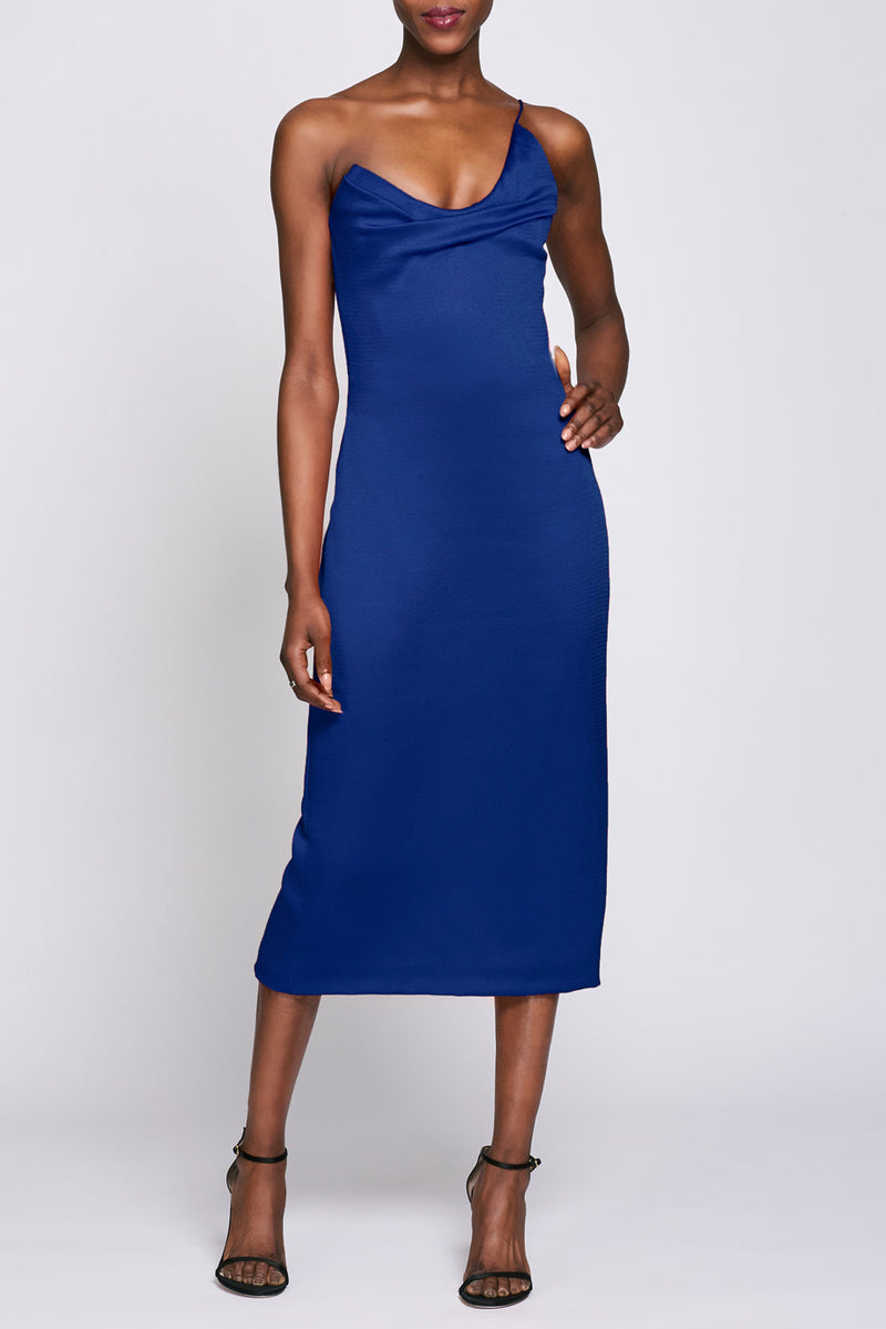 Indigo Draped Midi Dress · Final Sale