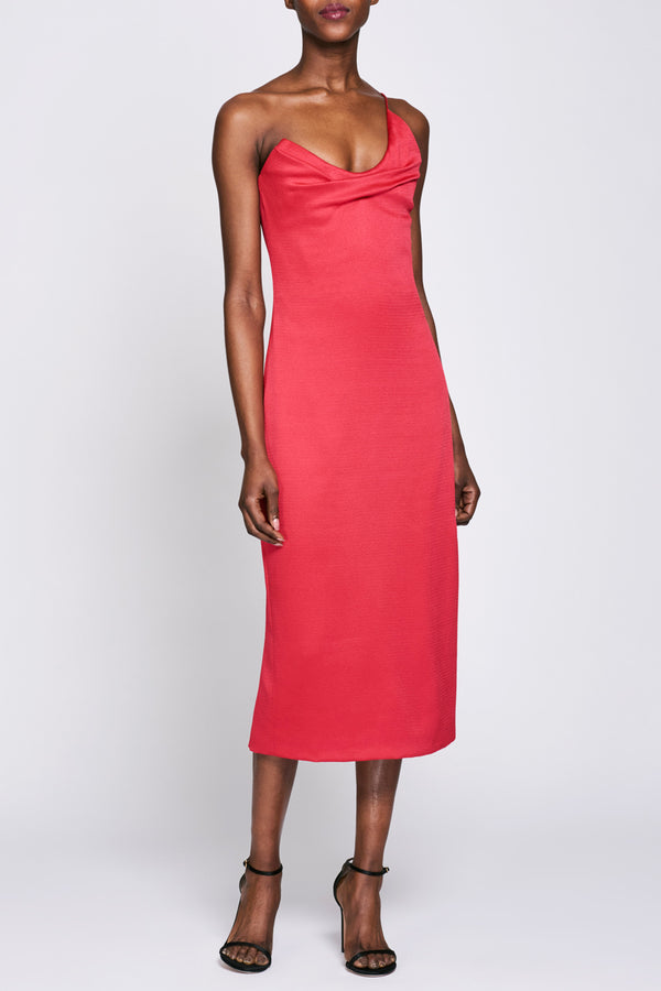 Cerise Draped Midi Dress · Final Sale