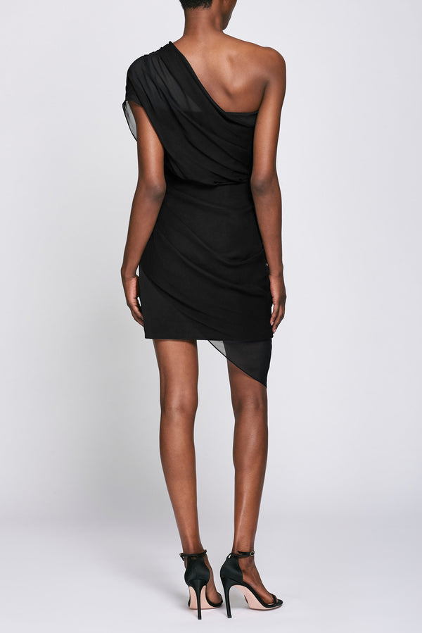 Black Chiffon Overlay Mini Dress · Final Sale