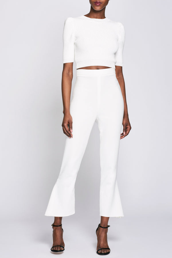 White High Waisted Cropped Pant · Final Sale