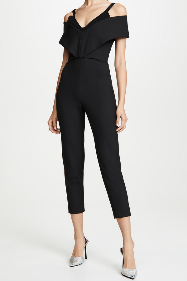 Black Off the Shoulder Cropped Jumpsuit · Final Sale
