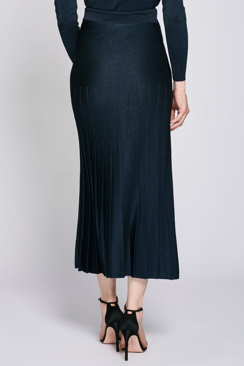 CUSHNIE Navy High Waisted Pleated Midi Skirt