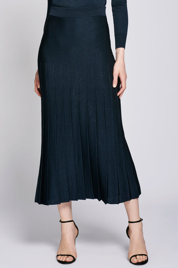 Navy High Waisted Pleated Midi Skirt  · Final Sale