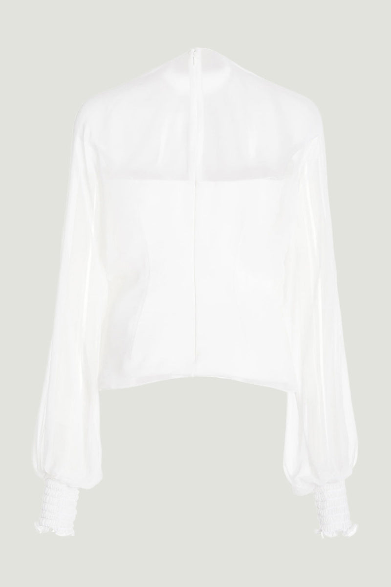 CUSHNIE White Long Sleeve Top with Chiffon Overlay