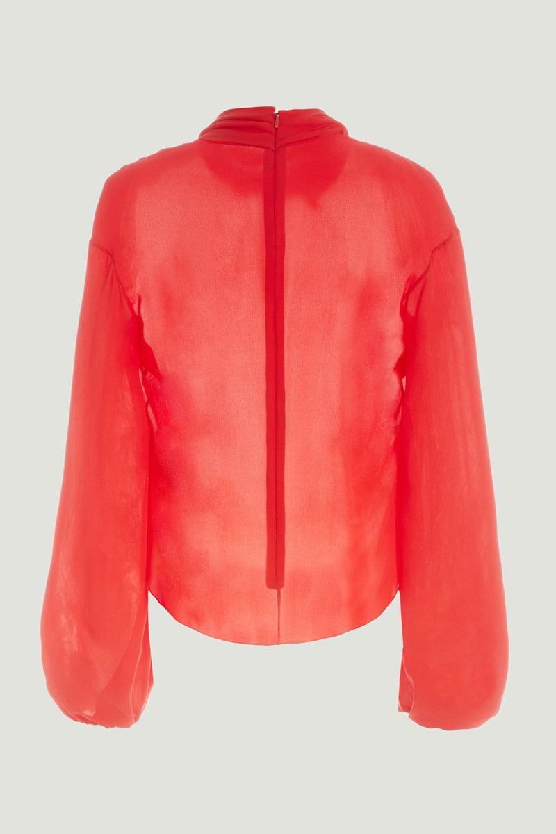 CUSHNIE Rouge High Neck Draped Silk Blouse