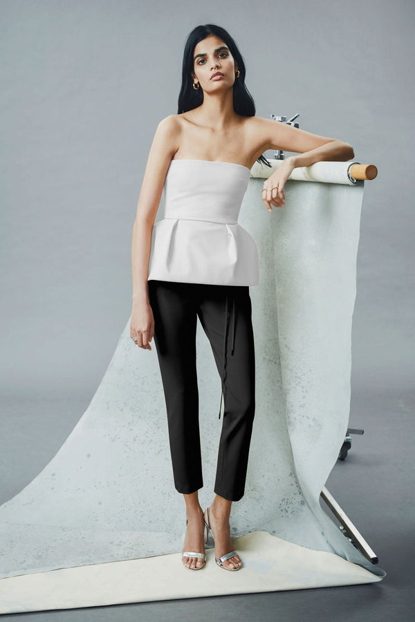 CUSHNIE White Strapless Power Viscose Peplum Top