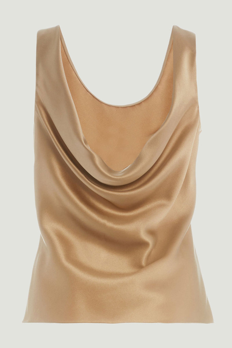 CUSHNIE Latte Silk Charmeuse Scoop Neck Tank
