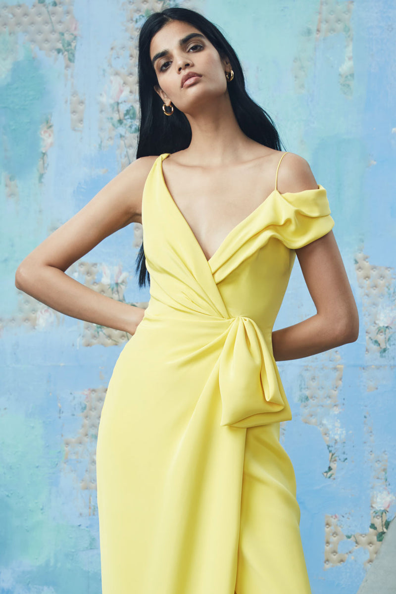 CUSHNIE Soleil Silk Crepe Off the Shoulder Draped Gown