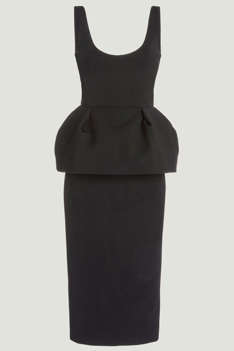 Cushnie Black Peplum Power Viscose Midi Dress