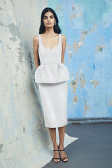 CUSHNIE White Peplum Power Viscose Midi Dress