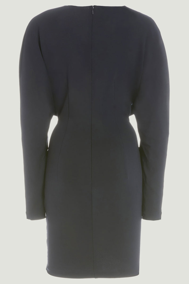 CUSHNIE Navy Matte Jersey Long Sleeved Plunging Mini Dress