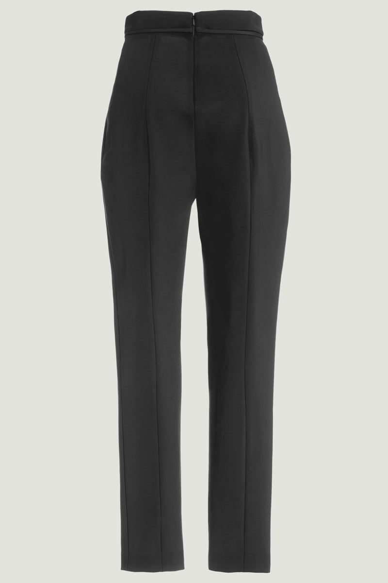 CUSHNIE Black Stretch Viscose Cropped Pant with Tie