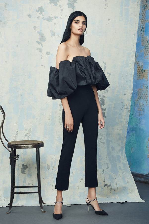 CUSHNIE Black Stretch Cady Jumpsuit with Taffeta Bodice