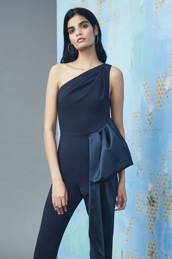 CUSHNIE Navy Liquid Cady One Shoulder Jumpsuit