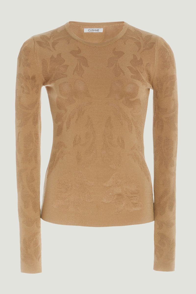 CUSHNIE Latte Knit Long Sleeved Floral Jacquard Top
