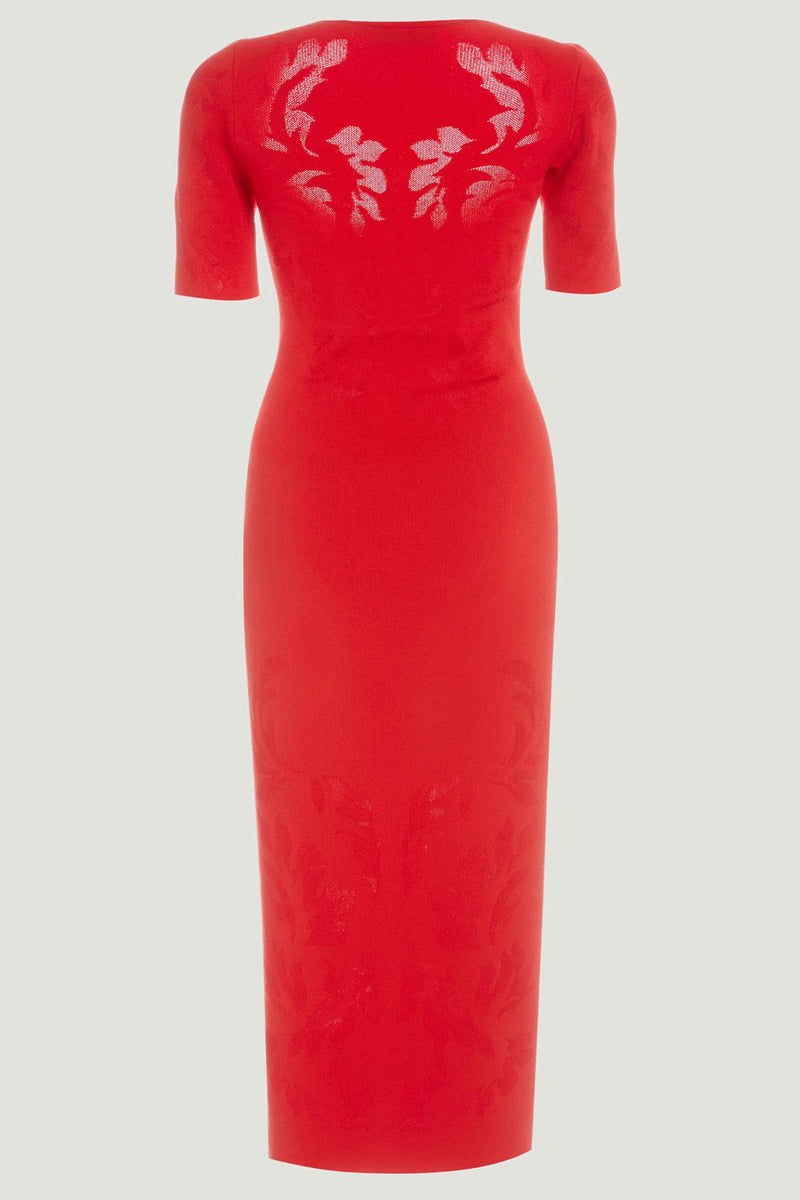 CUSHNIE Rouge Knit Floral Jacquard Midi Dress