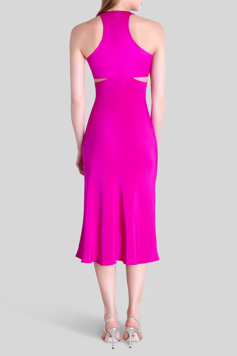 Fuchsia Sleeveless Midi Flare Dress  · Final Sale