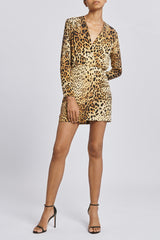 Tan Leopard Deep V Mini Dress · Final Sale