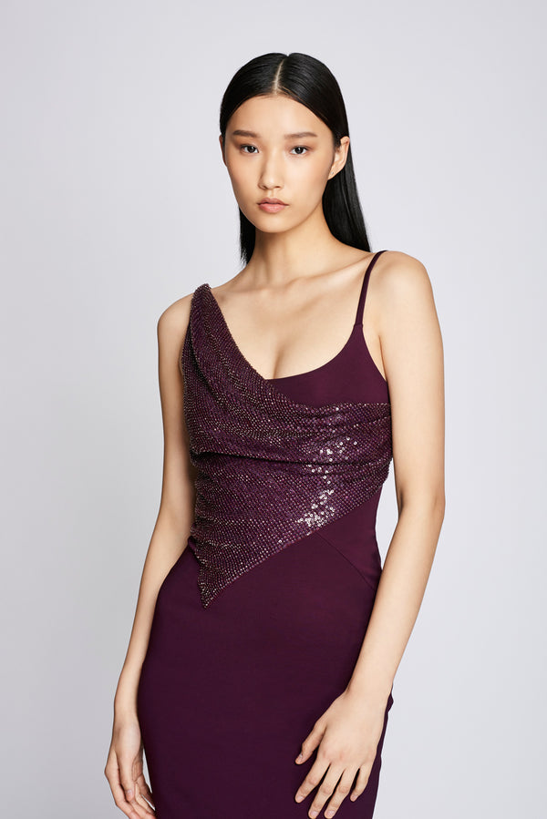 Plum Pencil Dress with Embroidery · Final Sale