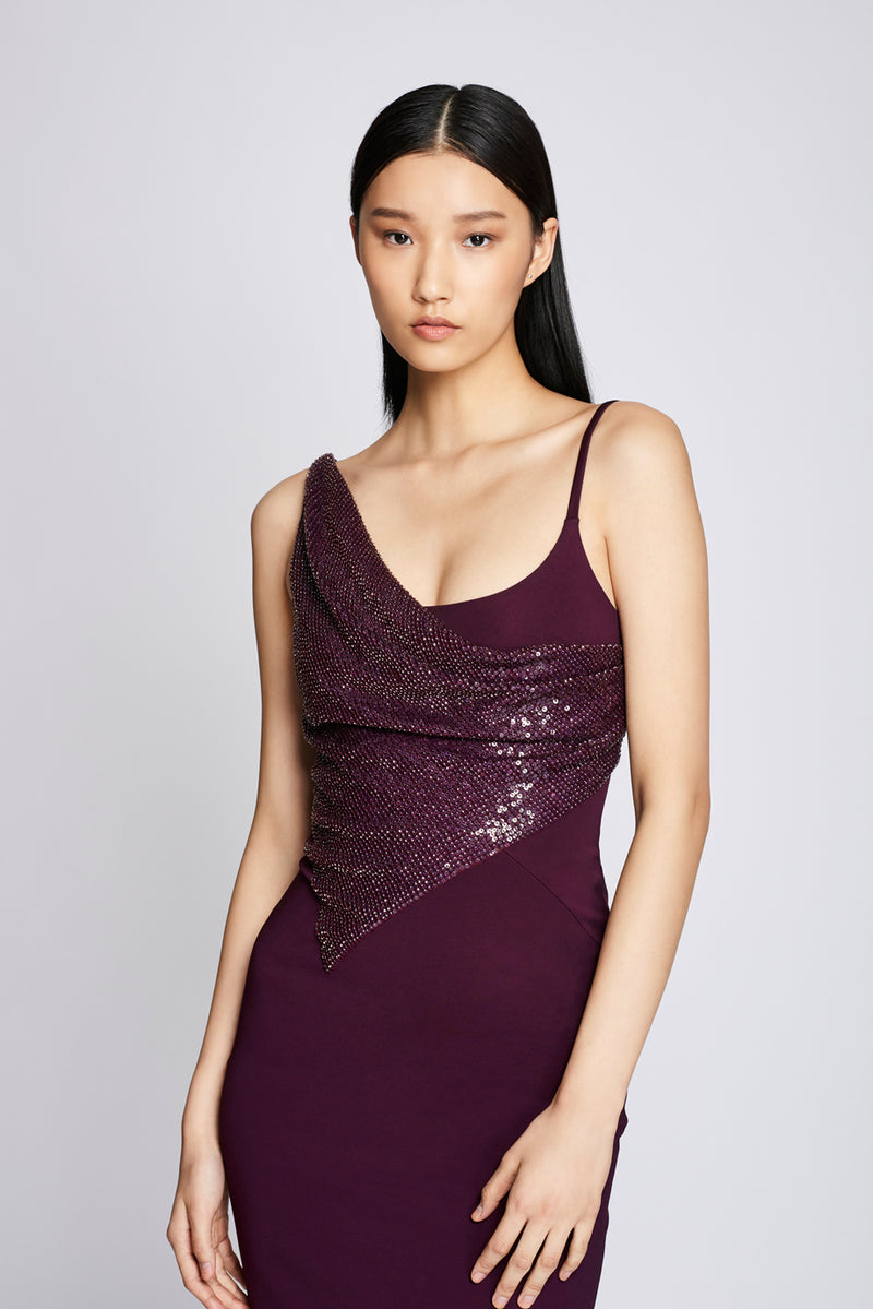 CUSHNIE Plum Pencil Dress with Embroidery