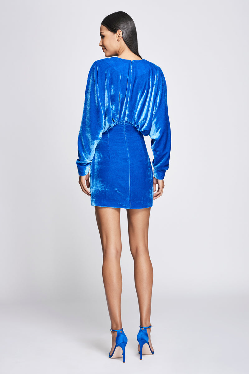 Ultramarine Velvet Long-Sleeved Mini Dress · Final Sale