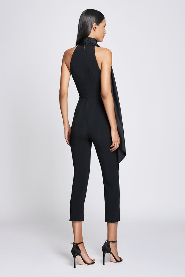 Black Cropped Jumpsuit with Scarf Detail · Final Sale