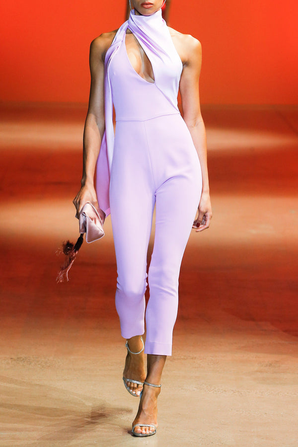 Lilac Cropped Jumpsuit with Scarf Detail · Final Sale