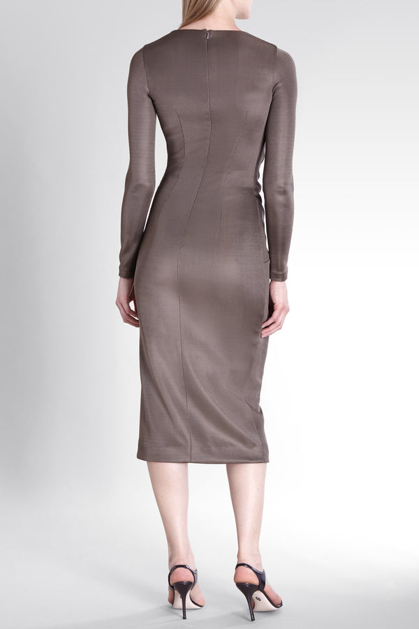 Mink Sahara Long Sleeved Deep V Pencil Dress · Final Sale