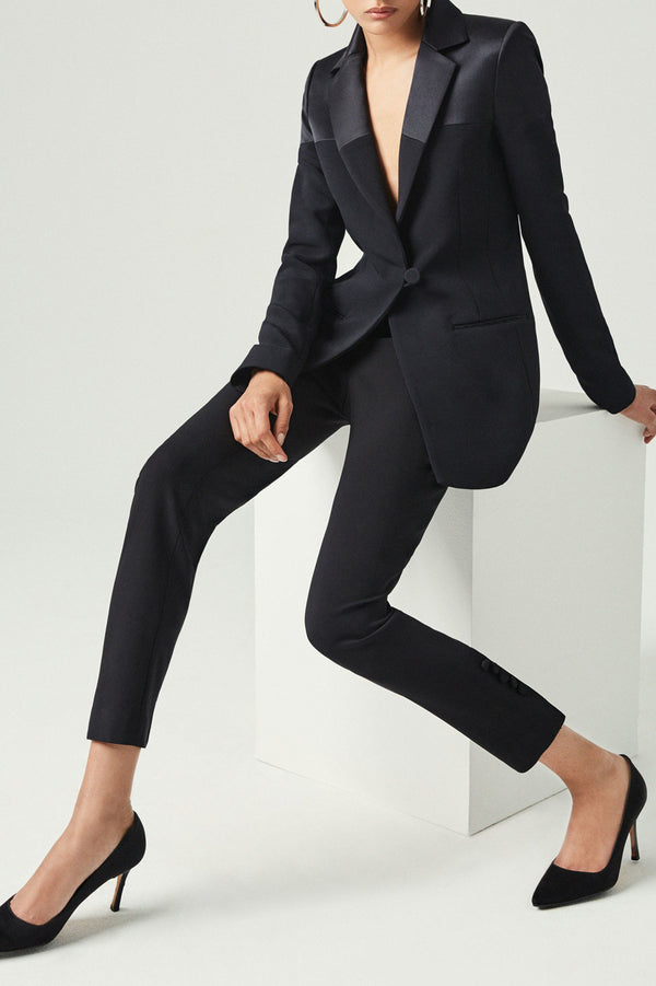 CUSHNIE Black Stretch Cady Blazer