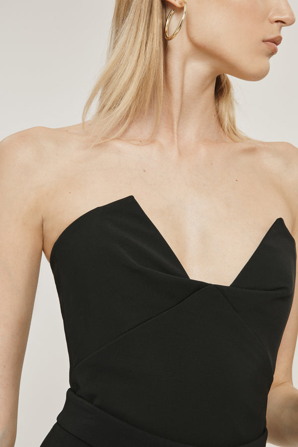 Black Stretch Power Viscose Strapless Bustier