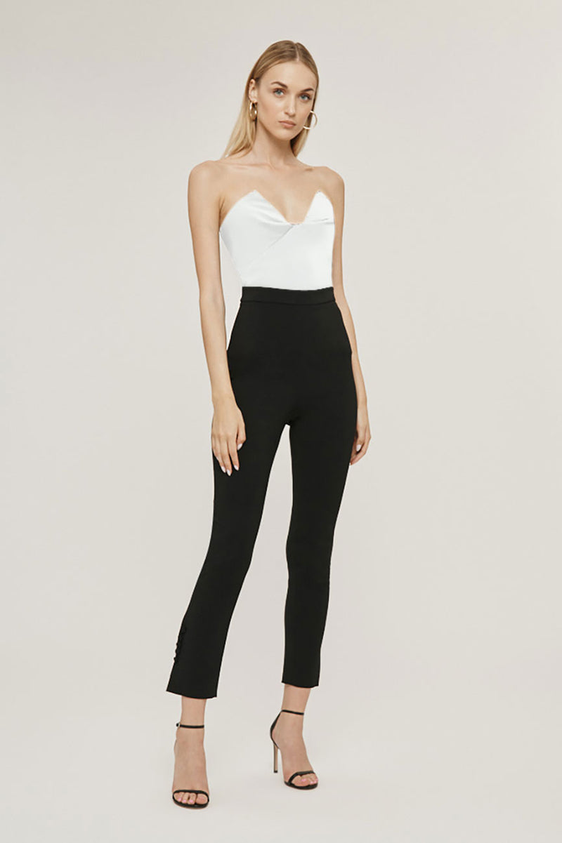 CUSHNIE White Stretch Power Viscose Strapless Bustier