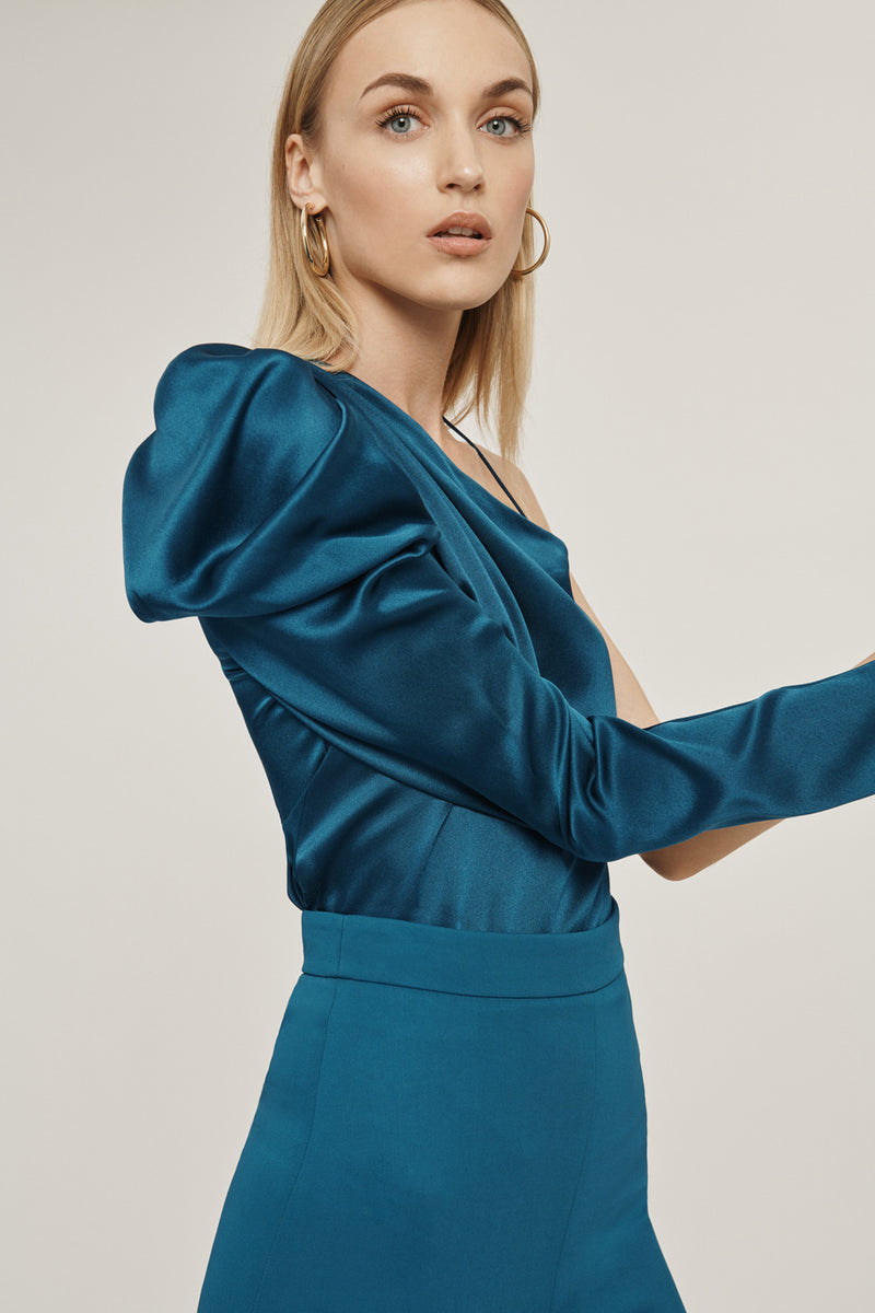 CUSHNIE Dark Teal Silk Charmeuse One Shoulder Draped Top