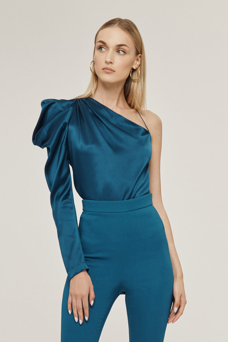 Dark Teal Silk Charmeuse One Shoulder Draped Top