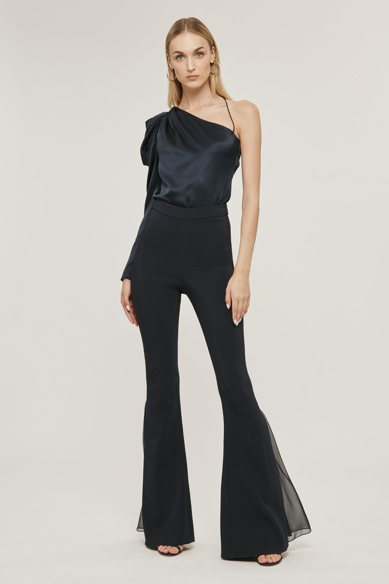 CUSHNIE Navy Silk Charmeuse One Shoulder Draped Top