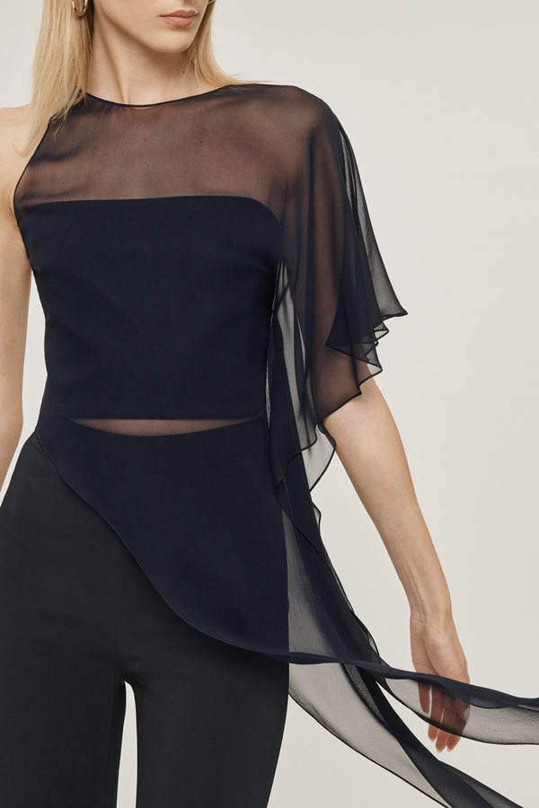 Navy Silk Chiffon One Shoulder Sheer Top