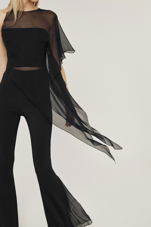 Black Silk Chiffon One Shoulder Sheer Top