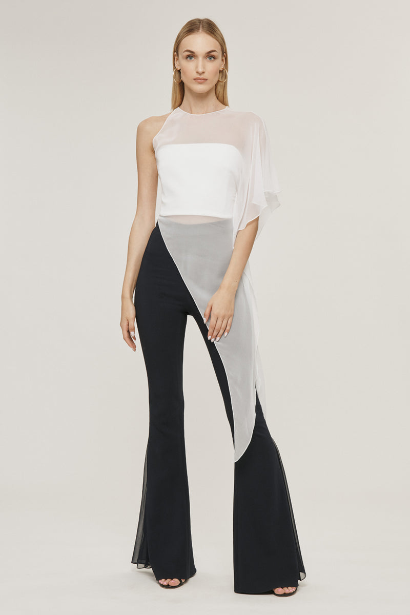 White Silk Chiffon One Shoulder Sheer Top