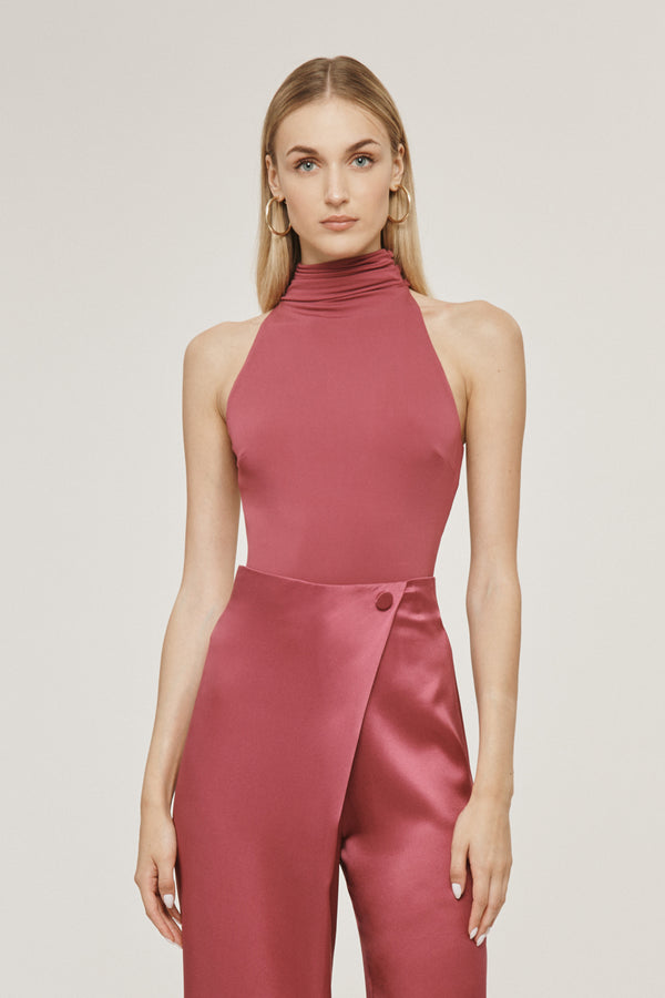 Rose Mauve Matte Jersey Open Back Bodysuit