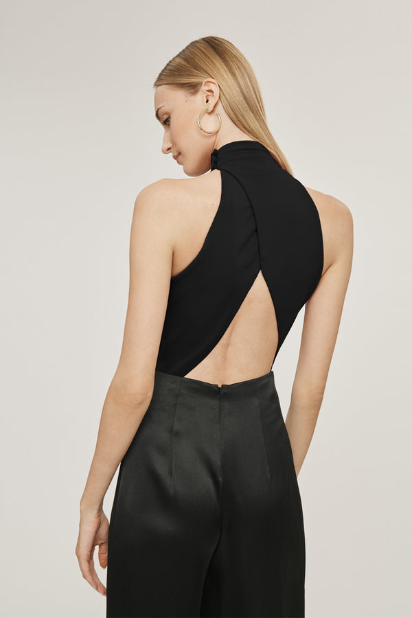 Black Matte Jersey Open Back Bodysuit