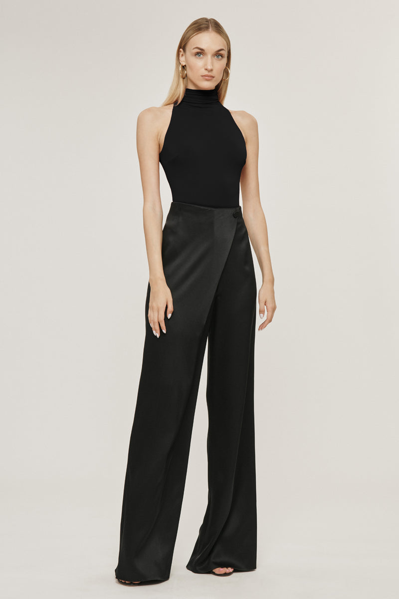 CUSHNIE Black Matte Jersey Open Back Bodysuit